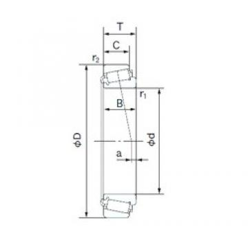 22.000 mm x 45.975 mm x 16.637 mm  NACHI H-LM12749/H-LM12711 tapered roller bearings